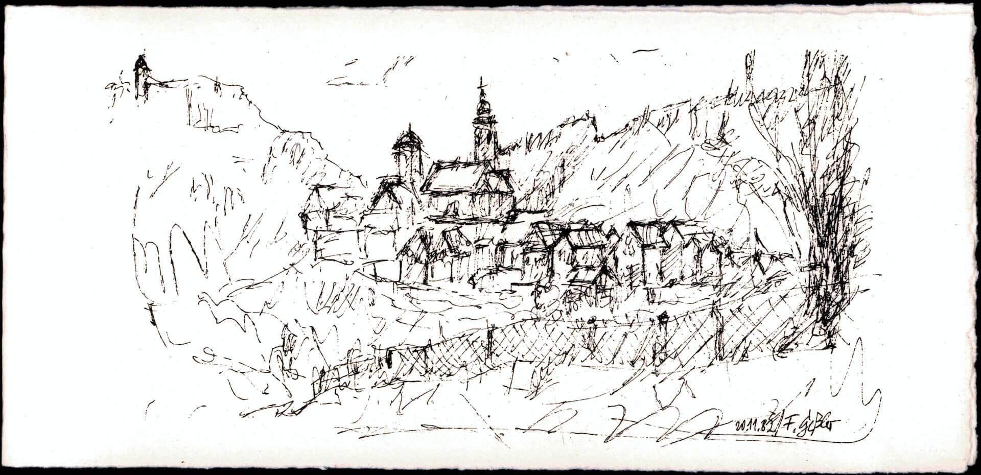 Handgezeichnete Silhouette von Horb am Neckar - Franz Gessler